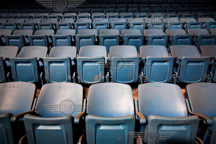 Rows of seating inside the Peking University Gymnasium in Beijing...