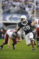 15 November 2008:  Penn State DE Aaron Maybin (59) rushes..The Penn State Nittany Lions defeated the Indiana Hoosiers 34-7 at Beaver Stadium in State College, PA..