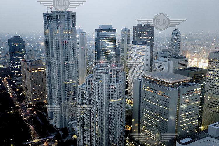 Skyscrapers in Tokyo's financial district.