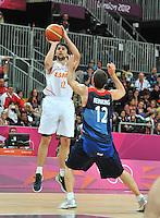 02.08.2012. London, England.  Sergio Llull Espagne Basketball  Spain versus Great Britain.
