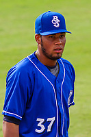 Biloxi Shuckers pitcher Miguel Sanchez (37) prior to a Southern League game against the Jackson Generals on July 26, 2018 at The Ballpark at Jackson in Jackson, Tennessee. Jackson defeated Biloxi 9-5. (Brad Krause/Four Seam Images)