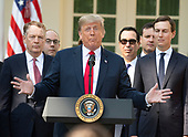 United States President Donald J. Trump delivers remarks on the United States Mexico Canada Agreement (USMCA) in the Rose Garden of the White House in Washington, DC on Monday, October 1, 2018.  The President  took questions on the agreement and on the Kavanaugh nomination.  Those pictured with the President, from left, include United States  Trade Representative Robert E. Lighthizer;  US Secretary of the Treasury Steven T. Mnunchin, and Senior Advisor Jared Kushner.<br /> Credit: Ron Sachs / CNP