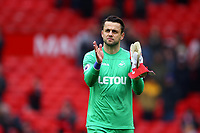 Lukasz Fabianski of Swansea City applauds the fans following the Premier League match between Manchester United and Swansea City at the Old Trafford, Manchester, England, UK. Saturday 31 March 2018