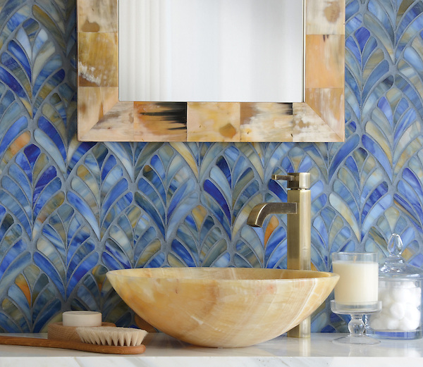 Margot, a handmade mosaic, is shown in Blue Onyx jewel glass and was designed by Sara Baldwin for New Ravenna. <br /> <br /> For pricing samples and design help, click here: http://www.newravenna.com/showrooms/