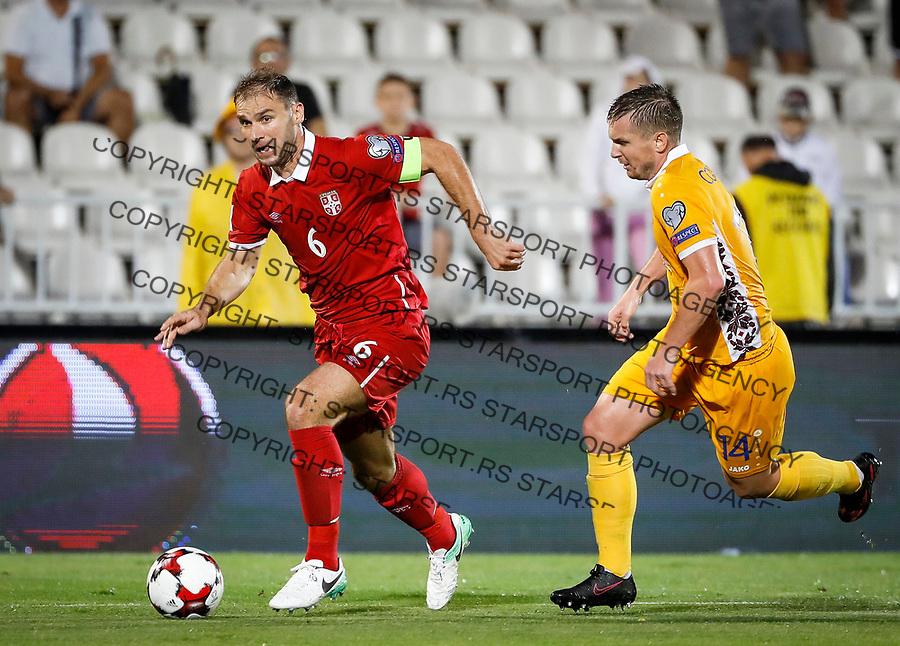 Fudbalski Savez Srbije<br /> Kvalifikacije za World Cup FIFA Russia 2018<br /> Srbija v Moldavija<br /> Branislav Ivanovic (L) and Andrei Cojocari (R)<br /> Beograd, 02.09.2017.<br /> foto: Srdjan Stevanovic/Starsportphoto &copy;