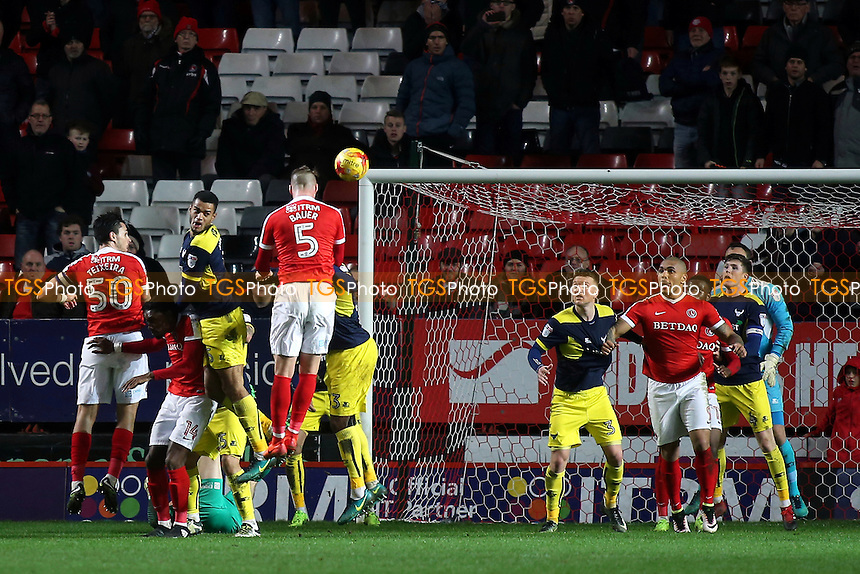 Charlton's Patrick Bauer has a header cleared off the line in the dying seconds of the match during Charlton Athletic vs Oxford United, Sky Bet EFL League 1 Football at The Valley on 21st February 2017