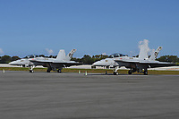 FORT LAUDERDALE FL - MAY 04: U.S. Navy F/A-18F Super Hornets sit on the tarmac at Fort Lauderdale Executive Airport during Fort Lauderdale Air Show Media day on May 4, 2017 in Fort Lauderdale, Florida. Credit: mpi04/MediaPunch