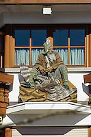Schnitzerei an Haus in Oberstdorf im Allg&auml;u, Bayern, Deutschland<br /> house with carving  in Oberstdorf, Allg&auml;u, Bavaria,  Germany