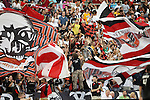 13 June 2009: DC fans celebrate a goal by their team. DC United defeated the Chicago Fire 2-1 at RFK Stadium in Washington, DC in a regular season Major League Soccer game.