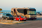 Motorhome and cars on beach in Mississippi