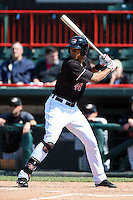 Erie SeaWolves outfielder Steven Moya (44) at bat during a game against the Akron RubberDucks on May 18, 2014 at Jerry Uht Park in Erie, Pennsylvania.  Akron defeated Erie 2-1.  (Mike Janes/Four Seam Images)
