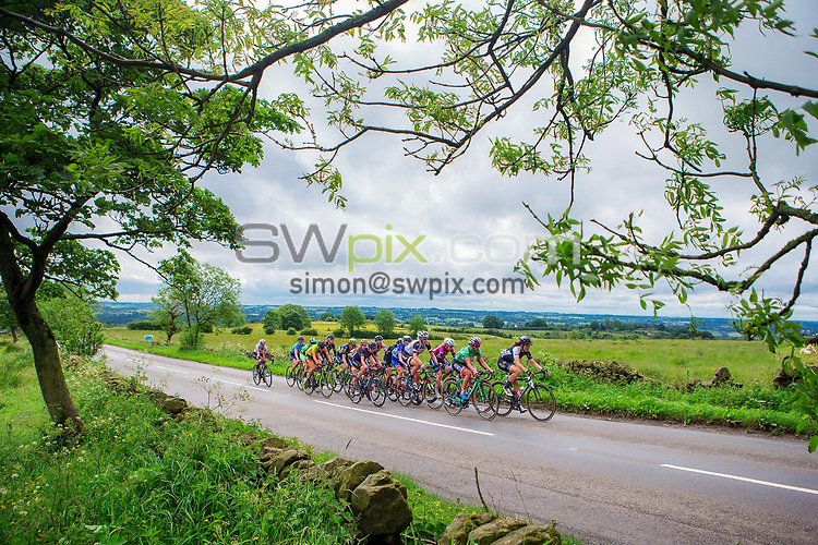 Picture by Alex Whitehead/SWpix.com - 08/06/2017 - Cycling - OVO Energy Women's Tour - Stage 2: Stoke-on-Trent - A group of riders tackle Ipstones climb.