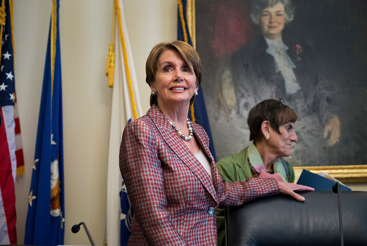 "UNITED STATES - MAY 30:  House Minority Leader Nancy Pelosi, D-Calif., left, and Rep. Rosa DeLauro, D-Conn., arrive to conduct a House Democratic Steering and Policy Committee hearing in Cannon Building entitled ""Paycheck Fairness Act: Responding to Financial Pressures on Women by Closing the Gender Wage Gap.""   (Photo By Tom Williams/CQ Roll Call)"