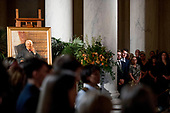 A portrait of the late Supreme Court Justice John Paul Stevens is displayed as he lies in repose during a private ceremony in the Great Hall of the Supreme Court in Washington, Monday, July 22, 2019. <br /> Credit: Andrew Harnik / Pool via CNP