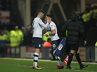 Preston North End's Paul Gallagher is subbed by Josh Harrop<br /> <br /> Photographer Mick Walker/CameraSport<br /> <br /> The EFL Sky Bet Championship - Preston North End v Leeds United - Tuesday 10th April 2018 - Deepdale Stadium - Preston<br /> <br /> World Copyright &copy; 2018 CameraSport. All rights reserved. 43 Linden Ave. Countesthorpe. Leicester. England. LE8 5PG - Tel: +44 (0) 116 277 4147 - admin@camerasport.com - www.camerasport.com