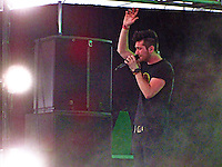 Bastille pumps up the crowd in the Mojave Tent on Friday, April 18th.