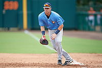 Tampa Bay Rays first baseman Brendan McKay (38) holds a runner on during an Instructional League game against the Baltimore Orioles on October 5, 2017 at Ed Smith Stadium in Sarasota, Florida.  (Mike Janes/Four Seam Images)