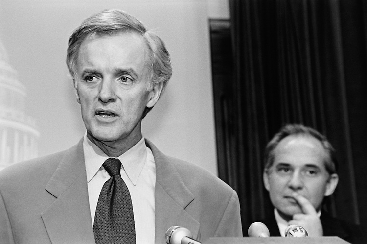 "Outgoing and incoming Democratic Senatorial Campaign Committee chairman, Sen. Joseph Robert ""Bob"" Kerrey, D-Nebr., Senate Member, and Sen., Robert Guy Torricelli, D-N.J., Senate Member, during a press conference. July 1997 (Photo by Rebecca Roth/CQ Roll Call)"