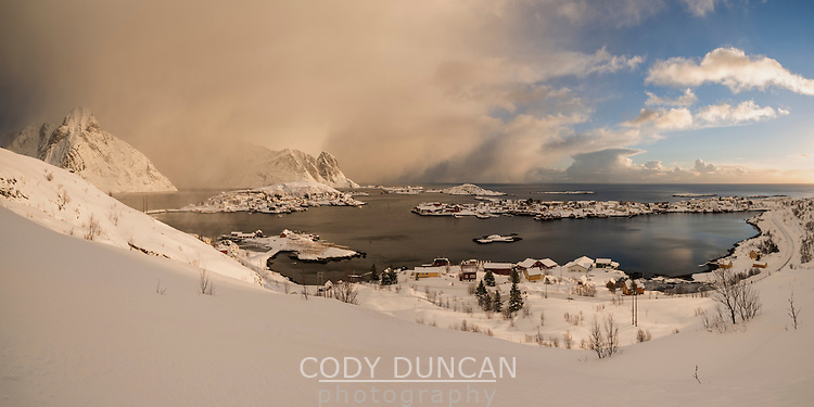 Winter storm approaching over Reine, Moskenesøy, Lofoten Islands, Norway