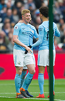 Manchester City Kevin De Bruyne celebrating second goal during the EPL - Premier League match between West Ham United and Manchester City at the Olympic Park, London, England on 29 April 2018. Photo by Andrew Aleksiejczuk / PRiME Media Images.