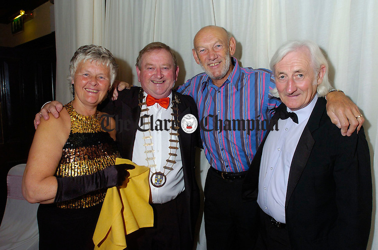 Mayor of Clare Flan and Mrs Garvey with entertainer Paddy Cole and former Clare Champion chief reporter Tony Mulvey at the Clare Champion Sixties Ball in Dromoland. Photograph by John Kelly.