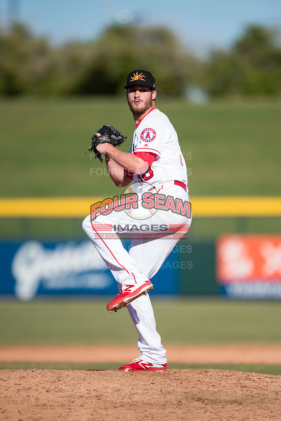 Mesa Solar Sox relief pitcher Ryan Clark (38), of the Los Angeles Angels organization, delivers a pitch during an Arizona Fall League game against the Peoria Javelinas at Sloan Park on November 6, 2018 in Mesa, Arizona. Mesa defeated Peoria 7-5 . (Zachary Lucy/Four Seam Images)