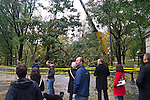 NEW YORK - OCTOBER 30:  2012 People gather to watch and take pictures of Workers struggling to remove downed trees in Central Park one day after Hurricane Sandy October 30, 2012 in New York City. (Photo by Donald Bowers )