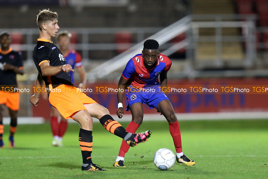 Jordy Mongoy of Dagenham and Alex Hartridge of Exeter City during Dagenham & Redbridge Under-23 vs Exeter City Under-23, Premier League Under-23 Cup Football at the Chigwell Construction Stadium on 5th September 2017