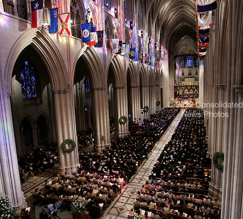 Washington, D.C. - January 2, 2007 -- The Washington National Cathedral is filled during a State Funeral service for former President Gerald R. Ford, Tuesday, January 2, 2007, in Washington, D.C. <br /> Credit: Pablo Martinez Monsivais-Pool via CNP