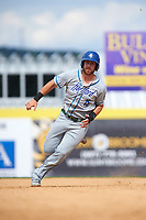 Hartford Yard Goats first baseman Brian Mundell (15) scores from first on a double by Jan Vazquez (not shown) in the top of the ninth inning during a game against the Binghamton Rumble Ponies on July 9, 2017 at NYSEG Stadium in Binghamton, New York.  Hartford defeated Binghamton 7-3.  (Mike Janes/Four Seam Images)