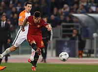 Roma s Diego Perotti kicks the ball during the Uefa Champions League round of 16 second leg soccer match between Roma and Shakhtar Donetsk at Rome's Olympic stadium, March 13, 2018. Roma won. 1-0 to join the quarter finals.<br /> UPDATE IMAGES PRESS/Riccardo De Luca