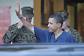 Kailua, HI - December 25, 2008 -- United States President-elect Barack Obama greets United States Marines at a Christmas dinner at Anderson Hall located at Marine Corps Base Hawaii Kaneohe Bay on Thursday, December 25, 2008 in Honolulu, Hawaii. Obama and his family arrived in his native Hawaii December 20 with his family for the Christmas holiday. .Credit: Kent Nishimura / Pool via CNP