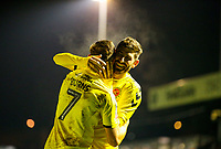 Fleetwood Town's Wes Burns celebrates scoring his side's second goal with teammate Ched Evans<br /> <br /> Photographer Alex Dodd/CameraSport<br /> <br /> The Emirates FA Cup Second Round - Guiseley v Fleetwood Town - Monday 3rd December 2018 - Nethermoor Park - Guiseley<br />  <br /> World Copyright © 2018 CameraSport. All rights reserved. 43 Linden Ave. Countesthorpe. Leicester. England. LE8 5PG - Tel: +44 (0) 116 277 4147 - admin@camerasport.com - www.camerasport.com