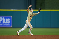 Vanderbilt Commodores shortstop Connor Kaiser (12) calls for the ball during the game against the Houston Cougars during game nine of the 2018 Shriners Hospitals for Children College Classic at Minute Maid Park on March 3, 2018 in Houston, Texas. The Commodores defeated the Cougars 9-4. (Brian Westerholt/Four Seam Images)