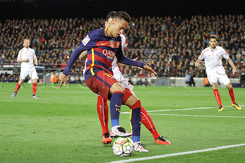28.02.2016. Nou Camp, Barcelona, Spain. La Liga football match Barcelona versus Sevilla. Neymar in action during the match