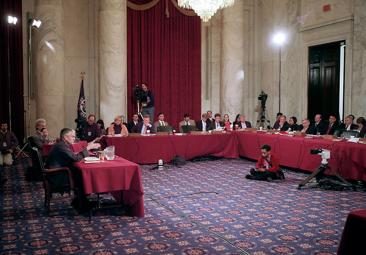 02/01/07--Gen. George W. Casey Jr. during the Senate Armed Services confirmation hearing on his nomination to be reappointed to the grade of general and to be chief of staff of the Army. Casey, who served as commander of U.S. forces in Iraq since 2004,came under pointed criticism Thursday from senators of both parties. But he is still expected to win confirmation to be Army chief of staff. Key members of the Senate Armed Services Committee complained that Casey oversaw a flawed military strategy. In particular, they charged he had repeatedly painted overly optimistic scenarios of U.S. progress in Iraq. ÒWhile I donÕt in any way question your honor, your patriotism or your service to our country, I do question some of the decisions, the judgments youÕve made over the past two and a half years,Ó said Sen. John McCain of Arizona, the top Republican on the panel. ÒDuring that time things have gotten markedly and progressively worse.Ó McCain has repeatedly called for more U.S. troops in Iraq, something Casey resisted. However, Chairman Carl Levin, D-Mich., and other committee Democrats said Casey should not be made the scapegoat for a failed Iraq policy. Responsibility rests with the president and other top civilian leaders, they said. Congressional Quarterly Photo by Scott J. Ferrell