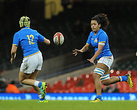 Italy&rsquo;s Giada Franco offl loads <br /> <br /> Photographer Ian Cook/CameraSport<br /> <br /> 2018 Women's Six Nations Championships Round 4 - Wales Women v Italy Women - Sunday 11th March 2018 - Principality Stadium - Cardiff<br /> <br /> World Copyright &copy; 2018 CameraSport. All rights reserved. 43 Linden Ave. Countesthorpe. Leicester. England. LE8 5PG - Tel: +44 (0) 116 277 4147 - admin@camerasport.com - www.camerasport.com