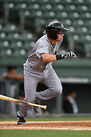 Catcher Rob Calabrese (15) of the Augusta GreenJackets bats in a game against the Greenville Drive on Thursday, May 17, 2018, at Fluor Field at the West End in Greenville, South Carolina. Augusta won, 2-1. (Tom Priddy/Four Seam Images)