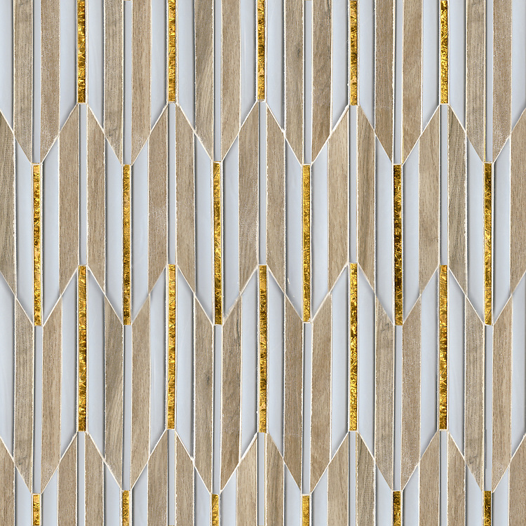 Fletcher, a waterjet mosaic, shown in Ironwood ceramic, Gold glass, and Island Fog glass, is part of the Altimetry® collection for New Ravenna.