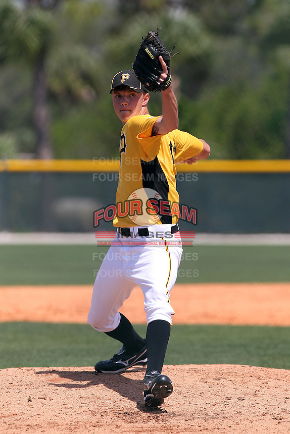 Pittsburgh Pirates pitcher Alex Lubashevich #91, who signed out of Russia at 16 years old, delivers a pitch during a minor league spring training game against the New York Yankees at Pirate City on March 23, 2012 in Bradenton, Florida.  (Mike Janes/Four Seam Images)