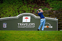 06/24/09 - Photo by John Cheng for Newsport.  PGA Pro Kevin Streelman tees off at the Travelers Championship at the TPC River Highlands in Cromewll Connecticut.