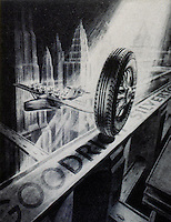 Jose Arentz:  Goodrich Silvertown Tires Ad, circa 1931.  (After Hugh Ferriss.)  YESTERDAY'S TOMORROWS.