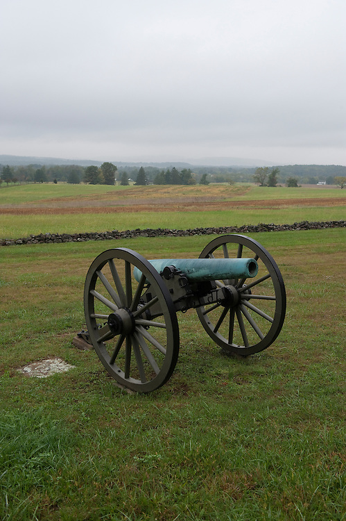 UNITED STATES -Sept 28: Gettysburg National Military Park. Seen here with views to the north of cannons set up where Cabell's Battalion and Manly's Battery of the First North Carolina artillery set two napoleons 3 inch rifle cannon's during the battle of Gettysburg.  (Photo By Douglas Graham/Roll Call )