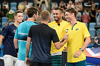 9th January 2020; Sydney Olympic Park Tennis Centre, Sydney, New South Wales, Australia; ATP Cup Australia, Sydney, Day 7; Great Britain versus Australia; Cameron Norrie of Great Britain versus Nick Kyrgios of Australia; John Millman and Nick Kyrgios of Australia shake hands with Daniel Evans and Cameron Norrie of Great Britain before the match - Editorial Use