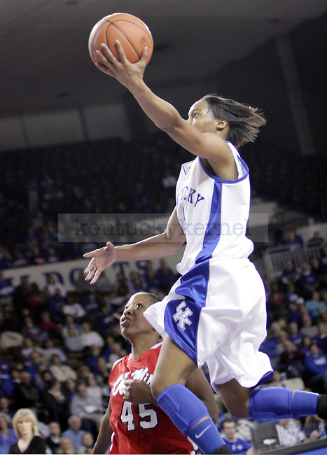 Freshman A'dia Mathies in mid layup in the first half of UK's game against Ole Miss on Thursday evening. Photo by William Baldon | Staff