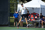 Christian Seraphim of the Wake Forest Demon Deacons in action against the Ohio State Buckeyes during the 2018 NCAA Men's Tennis Championship at the Wake Forest Tennis Center on May 22, 2018 in Winston-Salem, North Carolina.  The Demon Deacons defeated the Buckeyes 4-2. (Brian Westerholt/Sports On Film)