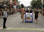 One of the entries approaching the midpoint turnaround during an early heat in The Great Saugerties Bed Race on Partition Street in Saugerties, NY on Saturday, August 6, 2011. Photo by Jim Peppler. Copyright Jim Peppler/2011.