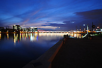 Tempe, Arizona. A western view Tempe Town Lake at night, with the city's skyline on the left. Photo By Eduardo Barraza © 2015