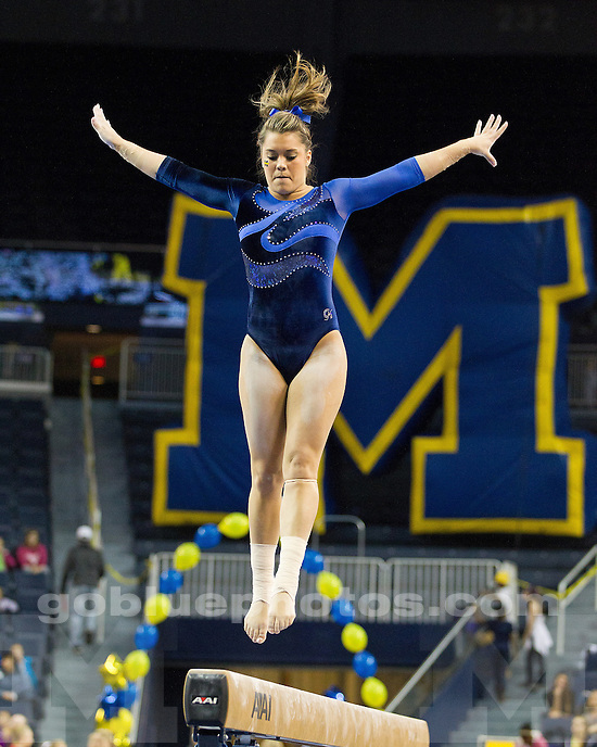 The University of Michigan women's gymnastics team fell to the No. 1-ranked University of Utah, 196.050-194.850, at Crisler Center in Ann Arbor, Mich., on February 17, 2012.