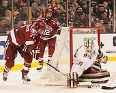 Lewis Zerter-Gossage (Harvard - 77), Devin Tringale (Harvard - 22), Thatcher Demko (BC - 30) - The Boston College Eagles defeated the Harvard University Crimson 3-2 in the opening round of the Beanpot on Monday, February 1, 2016, at TD Garden in Boston, Massachusetts.